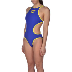 arena One Biglogo Maillot de bain une pièce Femme, neon blue/yellow star